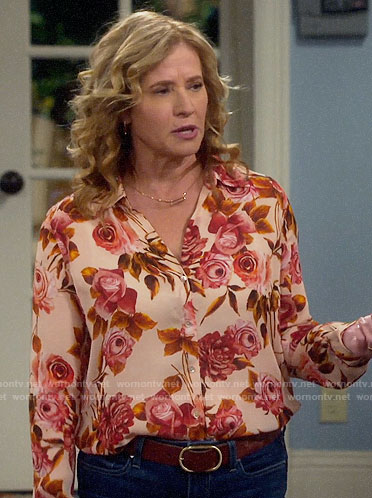 Vanessa's orange rose print blouse on Last Man Standing