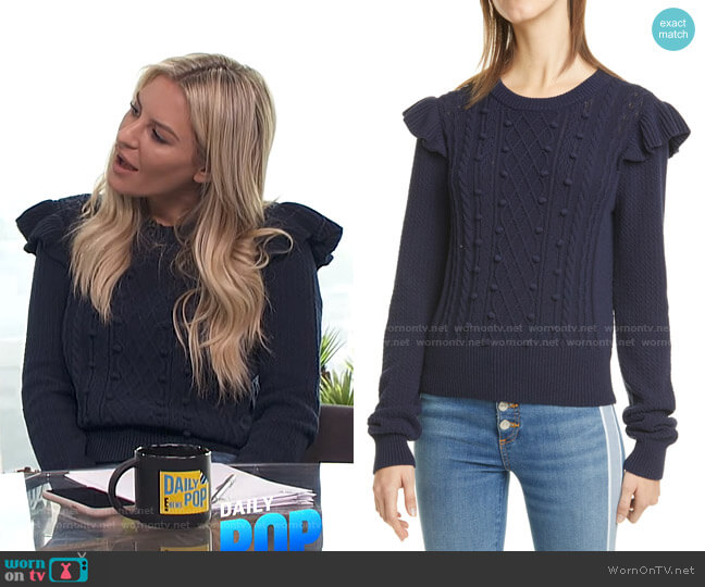 Earl Ruffle Shoulder Cable Knit Sweater by Veronica Beard worn by Morgan Stewart  on E! News