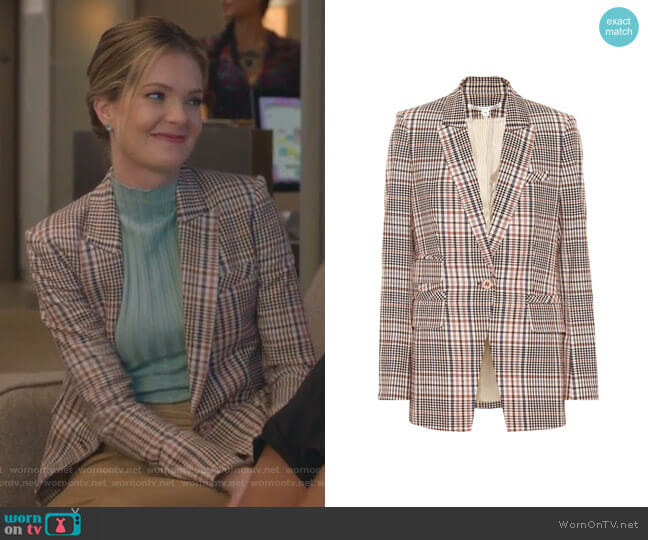Fuller Plaid Stretch Blazer by Veronica Beard  worn by Sutton (Meghann Fahy) on The Bold Type