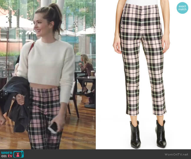 Gemini Plaid Crop Trousers by Veronica Beard worn by Sutton (Meghann Fahy) on The Bold Type