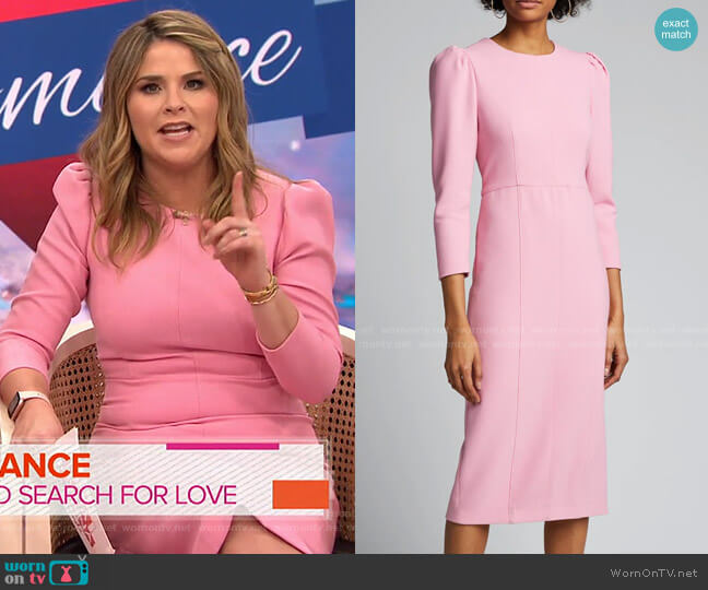 Geoff Puff-Sleeve Sheath Dress by Veronica Beard worn by Jenna Bush Hager  on Today