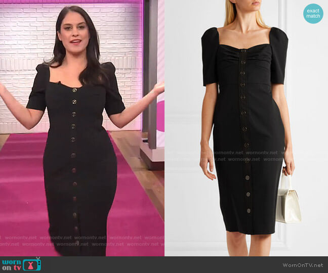 Trace Button-Detailed Cady Dress by Veronica Beard worn by Donna Farizan on Today