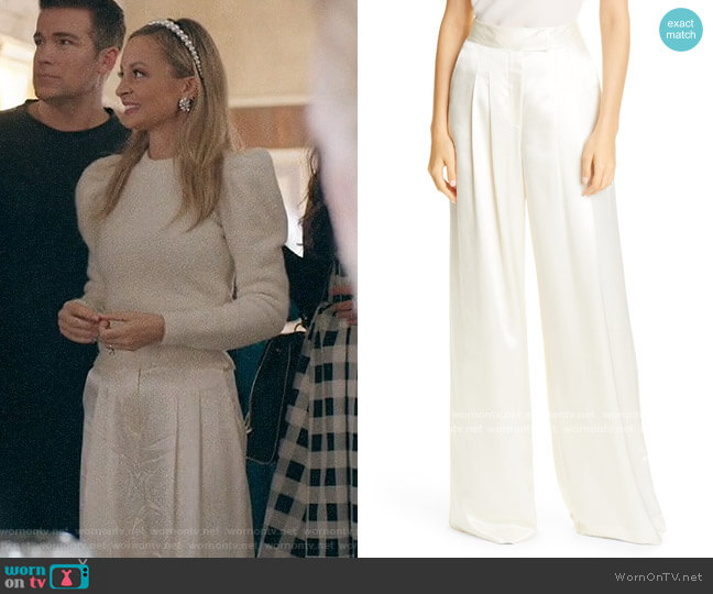 Veronica Beard Noel Satin Wide Leg Pants worn by Nicole Richie on Bless this Mess