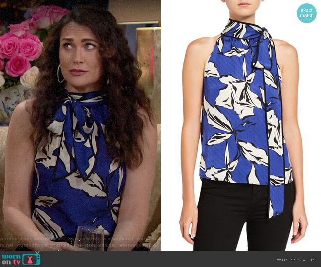 Veronica Beard Sela Printed Tie-Neck Top worn by Quinn Fuller (Rena Sofer) on The Bold & the Beautiful