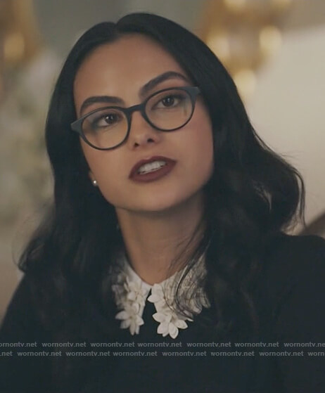 Veronica's black sweater with white floral collar and tweed skirt on Riverdale