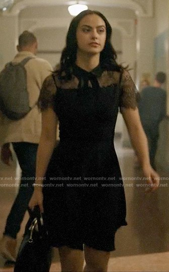Veronica's black lace tie neck dress on Riverdale