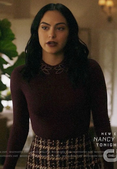 Veronica's burgundy beaded collar sweater and checked skirt on Riverdale