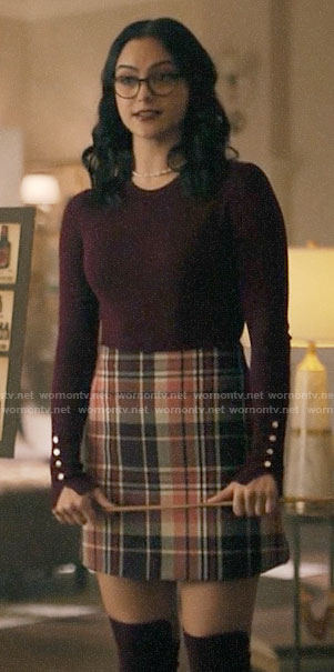 Veronica's plaid skirt and burgundy button cuff top on Riverdale