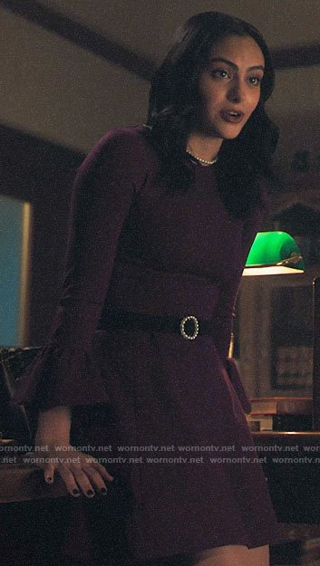 Veronica's purple bell sleeve dress on Riverdale