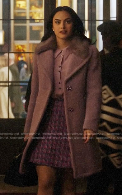 Veronica's lilac button up blouse and purple fur-collar coat on Riverdale