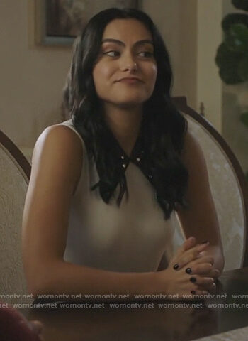 Veronica's white top with black embellished collar on Riverdale