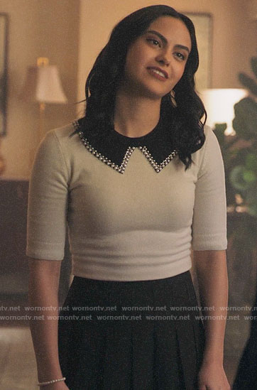 Veronica's white pearl trim collar sweater on Riverdale