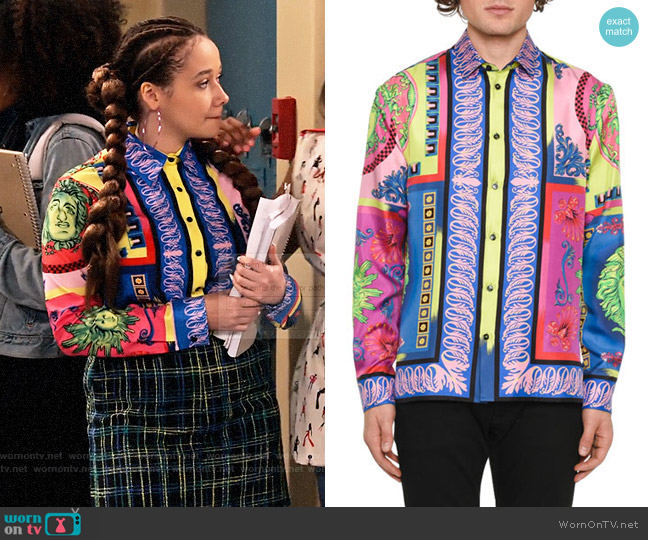 Versace Camicie Medusa Graphic Silk Sport Shirt worn by Jade (Talia Jackson) on Family Reunion