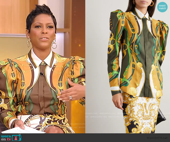 Printed Satin Shirt by Versace worn by Tamron Hall  on Tamron Hall Show