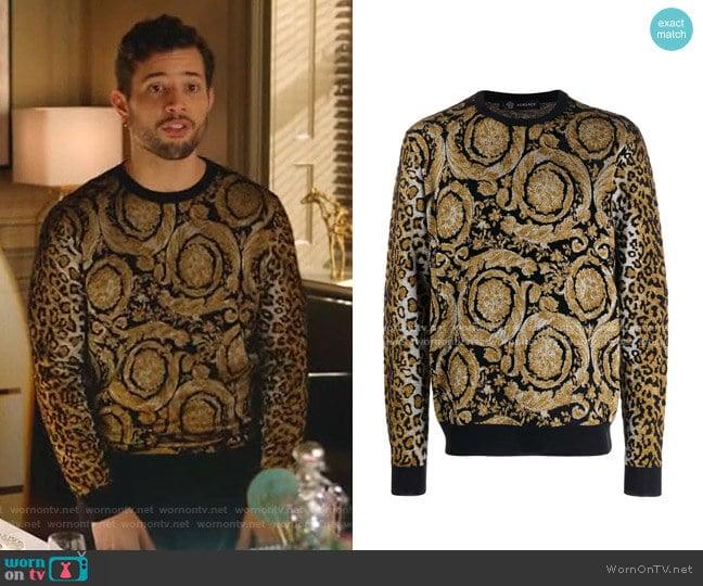 Dual-Pattern Knit Jumper by Versace worn by Sam Flores (Rafael de la Fuente) on Dynasty