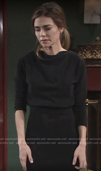 Victoria's black draped top dress on The Young and the Restless