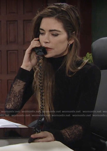 Victoria's black lace panel long sleeve dress on The Young and the Restless