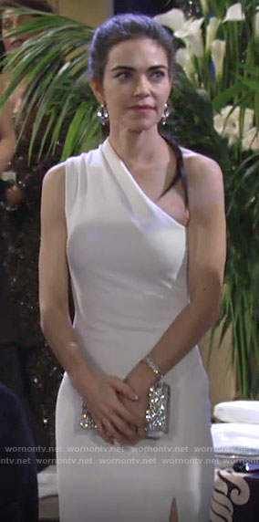 Victoria's white one-shoulder gown on The Young and the Restless