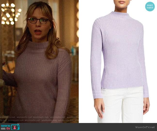 Vince Ribbed Raglan Mock-Neck Sweater in Lily Stone worn by Kara Danvers (Melissa Benoist) on Supergirl