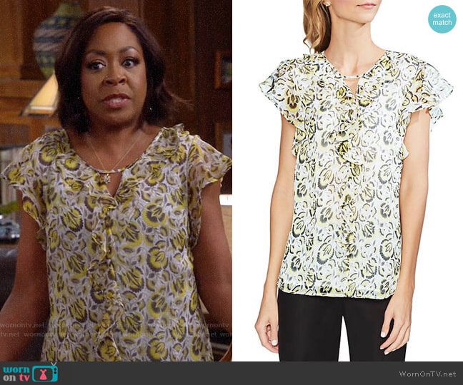 Vince Camuto Cluster Floral Ruffle Blouse worn by Tina (Tichina Arnold) on The Neighborhood