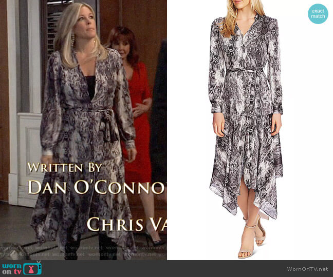 Vince Camuto Snakeskin Print Midi Dress worn by Carly Corinthos (Laura Wright) on General Hospital