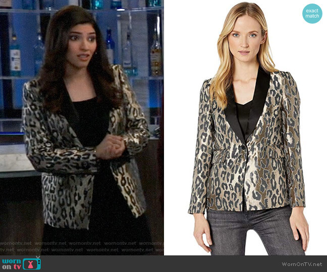Vince Camuto Leopard Jacquard Blazer worn by Brook Lynn Quartermaine (Amanda Setton) on General Hospital