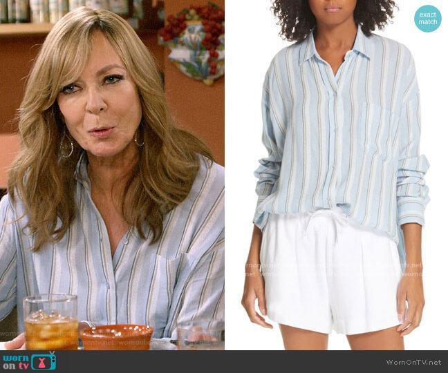 Vince Textured Stripe Button Up Blouse worn by Bonnie Plunkett (Allison Janney) on Mom