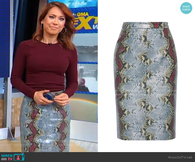 Toddie Metallic Snake-Effect Leather Pencil Skirt by Walter Baker worn by Ginger Zee  on Good Morning America