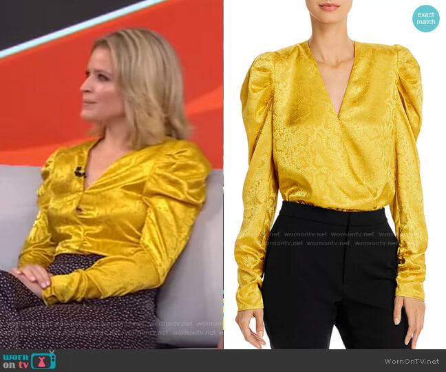 Sav Puff-Sleeve Bodysuit by Wayf worn by Sara Haines  on Good Morning America