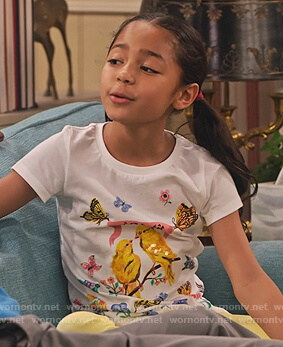 Ami's white bird and butterfly print tee on Family Reunion