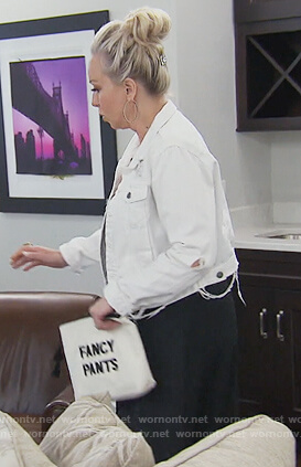 Margaret's white fancy pants clutch on The Real Housewives of New Jersey