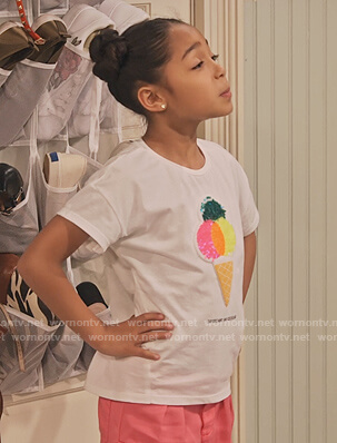 Ami's ice cream embellished tee on Family Reunion