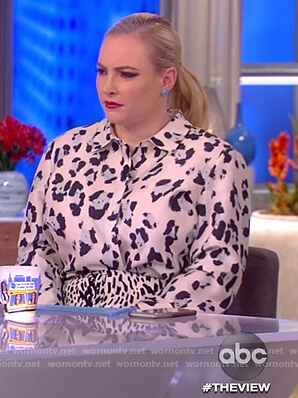 Meghan's white leopard print blouse and skirt on The View