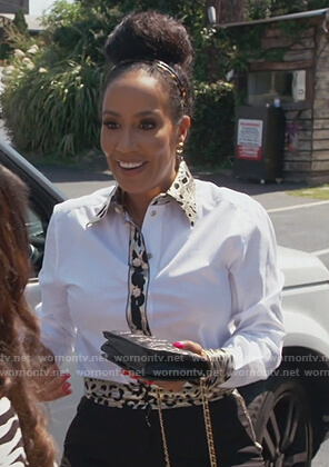 Tanya Sam's white leopard trim top on The Real Housewives of Atlanta