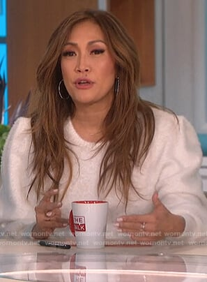 Carrie's white puff sleeve sweater on The Talk