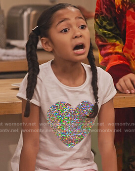 Ami's white heart sequin tee on Family Reunion
