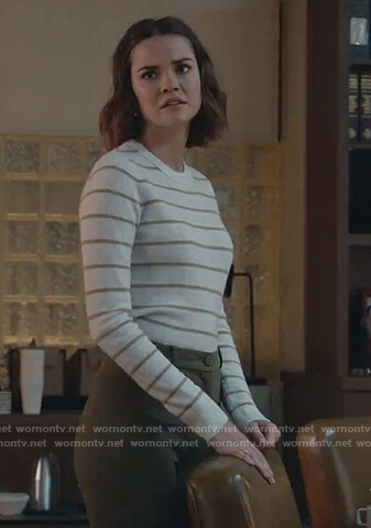 Callie's white stripe sweater on Good Trouble