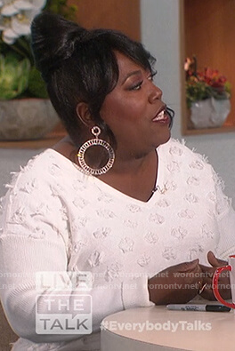 Sheryl's white textured dot sweater on The Talk