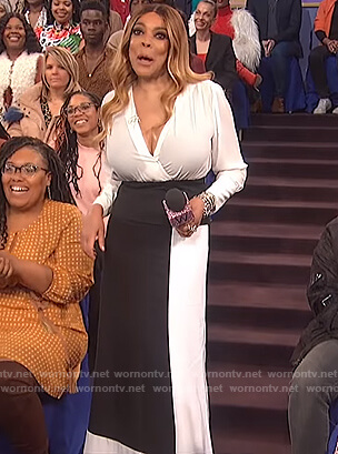 Wendy's white top and colorblock pants on The Wendy Williams Show