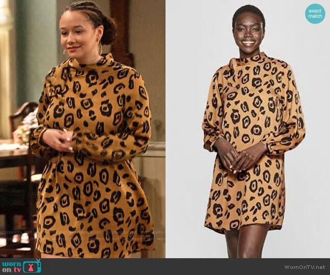 Who What Wear Leopard Print Long Sleeve Tie Shift Mini Dress worn by Jade (Talia Jackson) on Family Reunion