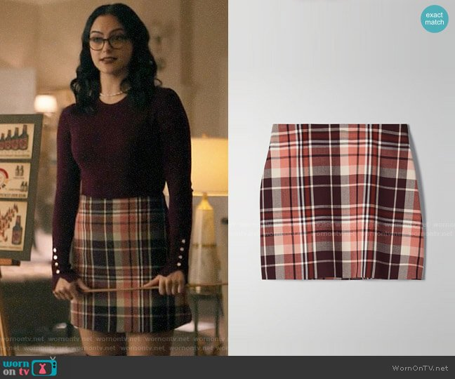 Aritzia Wilfred New Classic Check Mini Skirt in Rustique/Wrm Erth Kent worn by Veronica Lodge (Camila Mendes) on Riverdale