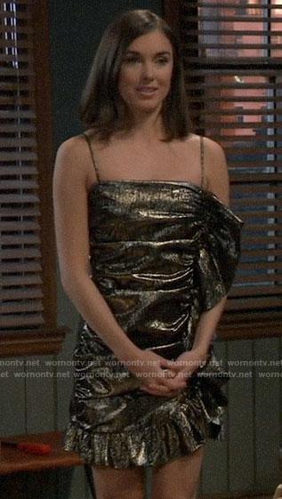 Willow's metallic ruffled mini dress on General Hospital