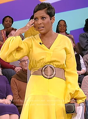 Tamron's yellow belted dress on Tamron Hall Show