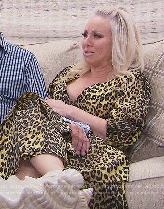 Margaret's yellow leopard wrap dress on The Real Housewives of New Jersey