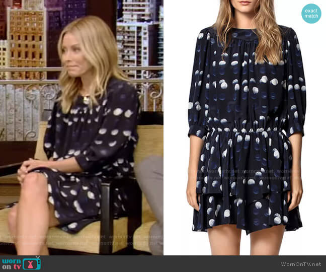 Rooka Dot-Print Short Dress by Zadig & Voltaire worn by Kelly Ripa  on Live with Kelly & Ryan