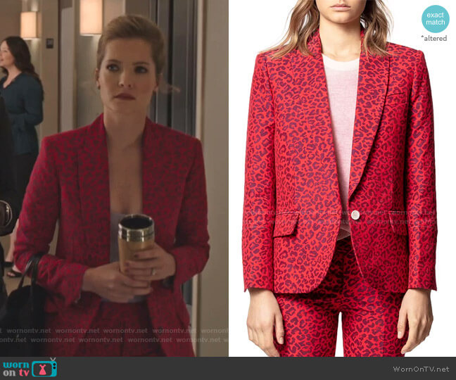 Viking Leopard-Print Jacquard Jacket and Prune Pants by Zadig & Voltaire worn by Sutton (Meghann Fahy) on The Bold Type
