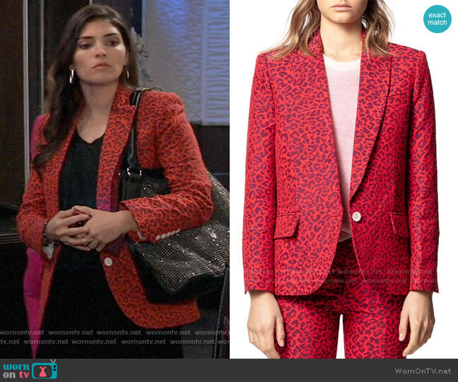 Zadig & Voltaire Viking Leopard-Print Jacquard Jacket worn by Brook Lynn Quartermaine (Amanda Setton) on General Hospital