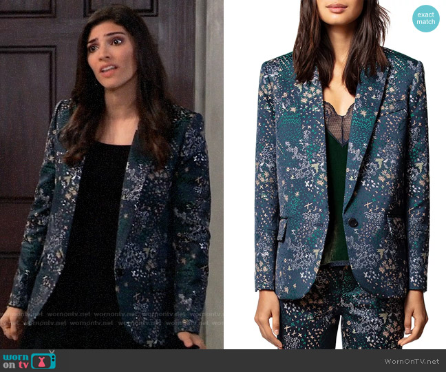 Zadig & Voltaire Viking Mixed-Print Jacquard Blazer worn by Brook Lynn Quartermaine (Amanda Setton) on General Hospital