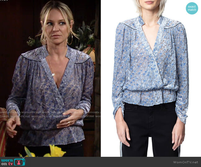 Zadig & Voltaire Tori Blouse worn by Sharon Collins (Sharon Case) on The Young & the Restless