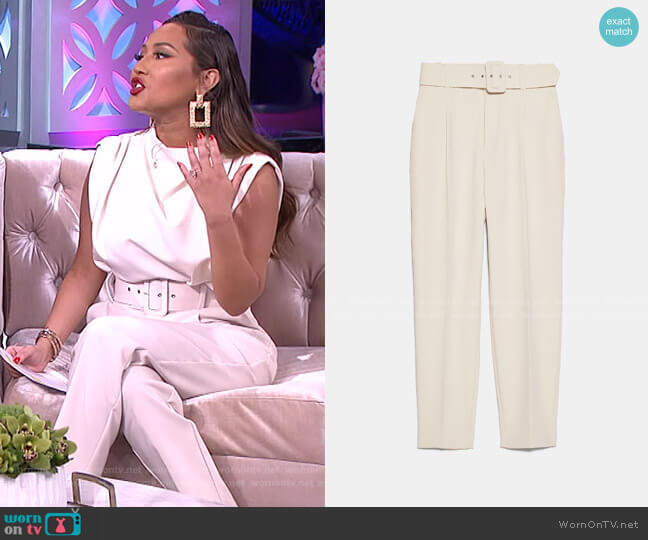 High-Waisted Belted Pants by Zara worn by Adrienne Houghton  on The Real